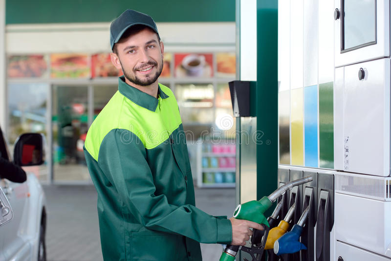 Het benzinestation van de benzine royalty-vrije stock foto's