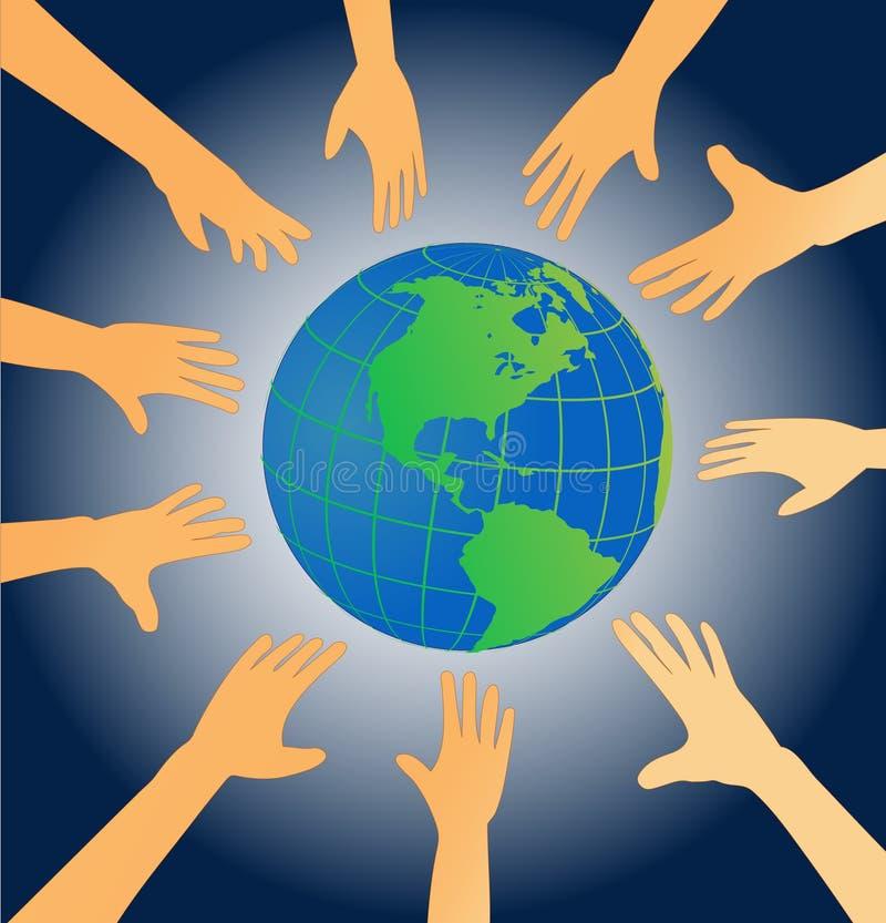 Het bereik van handen voor aarde royalty-vrije illustratie