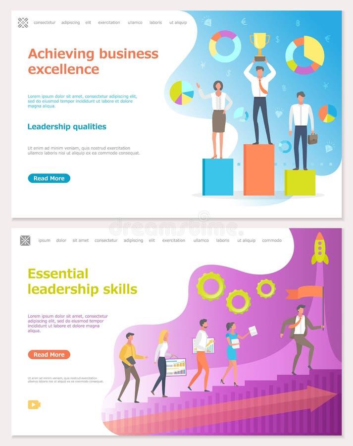 Het bereiken Bedrijfsvoortreffelijkheid, Arbeiders met Prijs stock illustratie