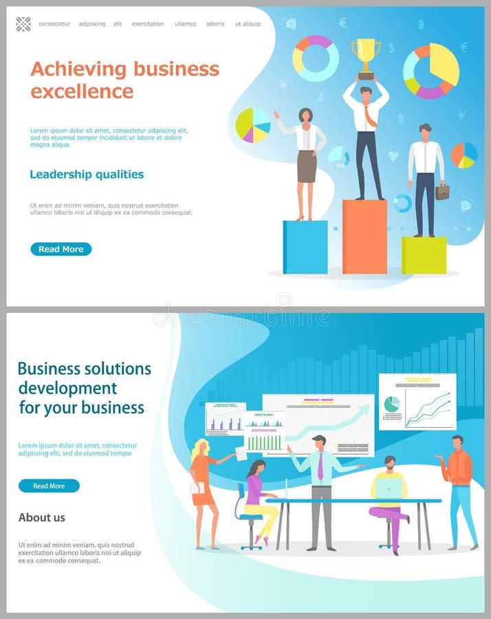 Het bereiken Bedrijfsvoortreffelijkheid, Bedrijfsoplossing stock illustratie