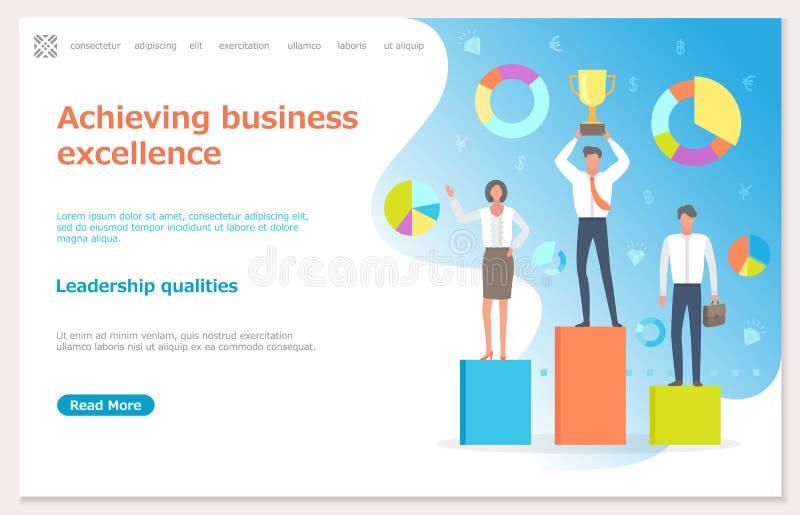 Het bereiken Bedrijfsvoortreffelijkheid, Mensen met Prijs vector illustratie