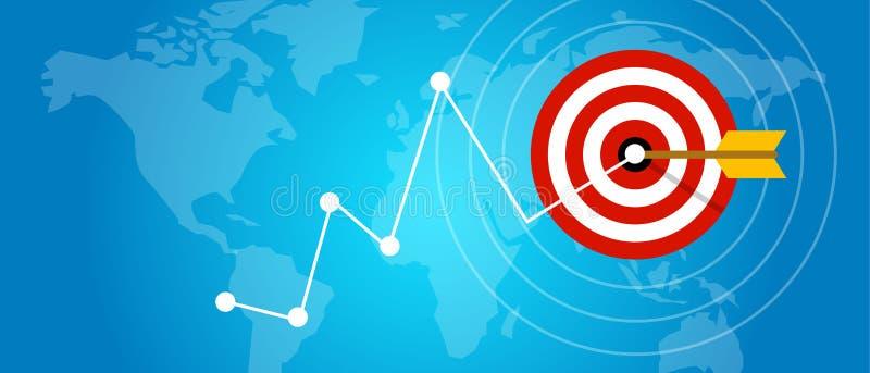 Het bereiken de verbetering van de doelstrategie de doelstellingen van de de marktpijl van de conceptengroei stock illustratie