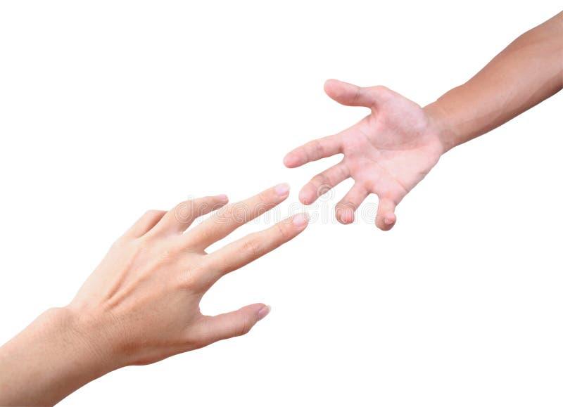 Het bereiken van handen stock afbeelding