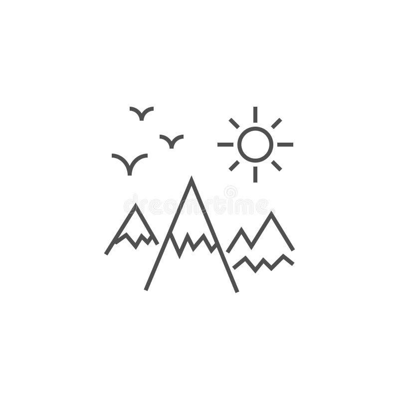 Het bergenlandschap bracht Vectorlijnpictogram met elkaar in verband stock illustratie