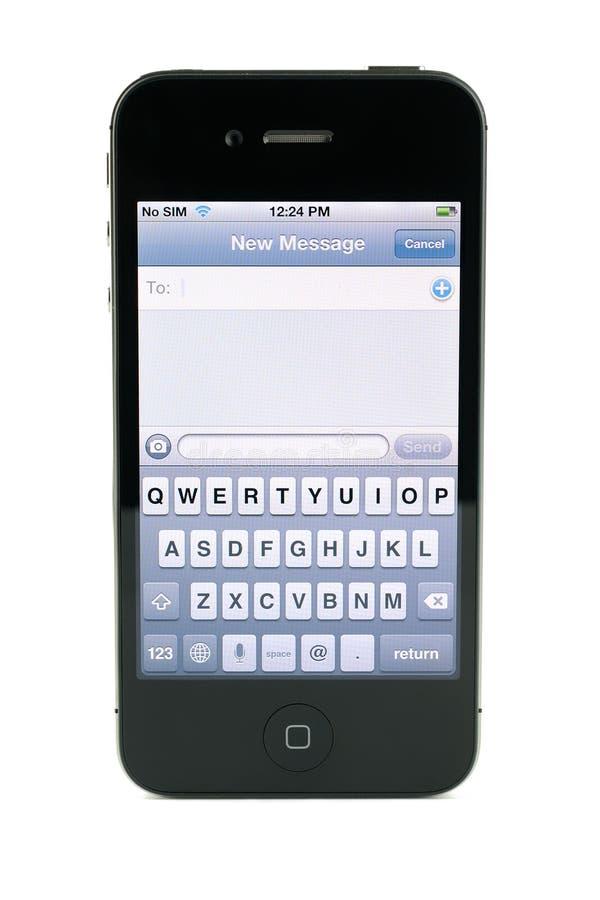 Het bericht van de iPhone4s tekst van de appel royalty-vrije stock afbeelding