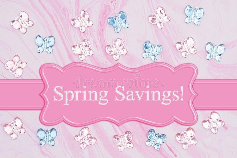 Het bericht van de lentebesparingen met roze en blauwe glasvlinders op roze waterverfdocument stock afbeelding
