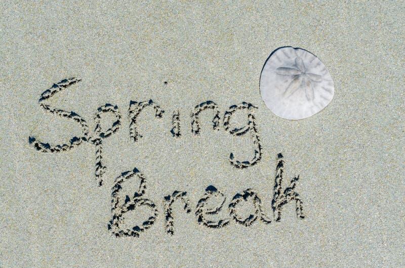 Het bericht van de de lenteonderbreking in het zand met zanddollar royalty-vrije stock foto