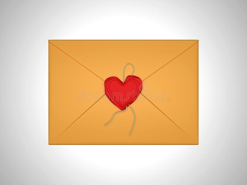 Het bericht van de liefde - brief die met rood zegelwas wordt verzegeld vector illustratie