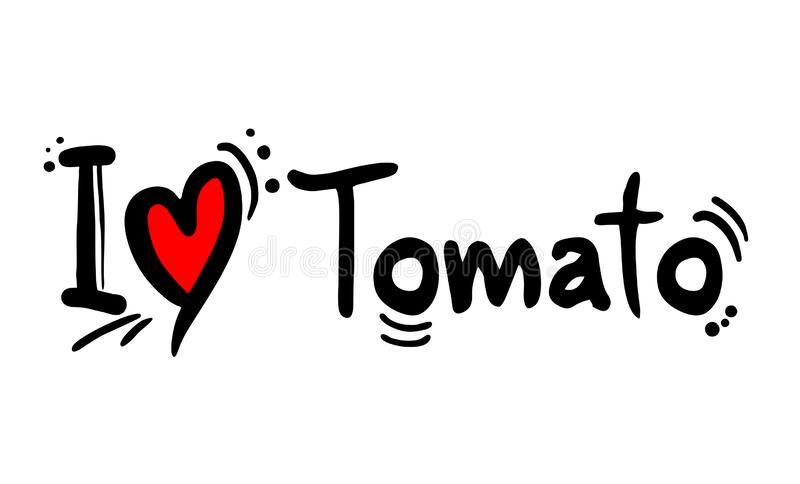Het bericht van de tomatenliefde royalty-vrije illustratie