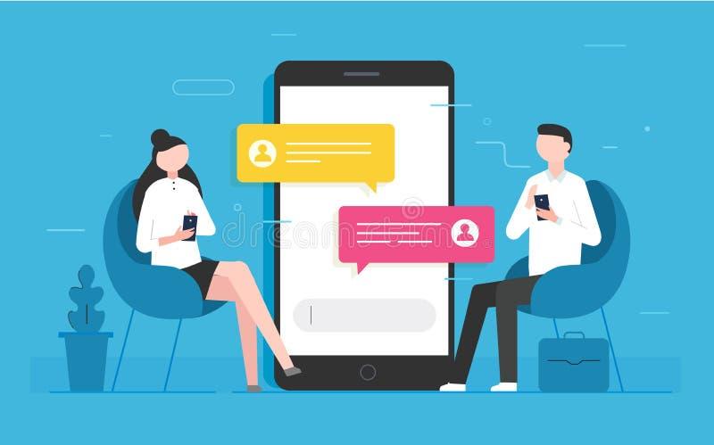 Het bericht van praatjeberichten op smartphone royalty-vrije illustratie