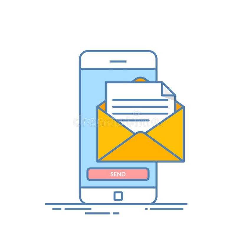 Het bericht verzendt op mobiele telefoon E-mail Marketing Dunne lijn vectorillustratie in vlakke die stijl op witte achtergrond w stock illustratie