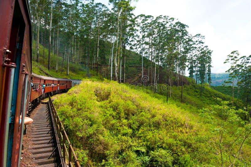 Het berijden door trein in Sri Lanka royalty-vrije stock foto's