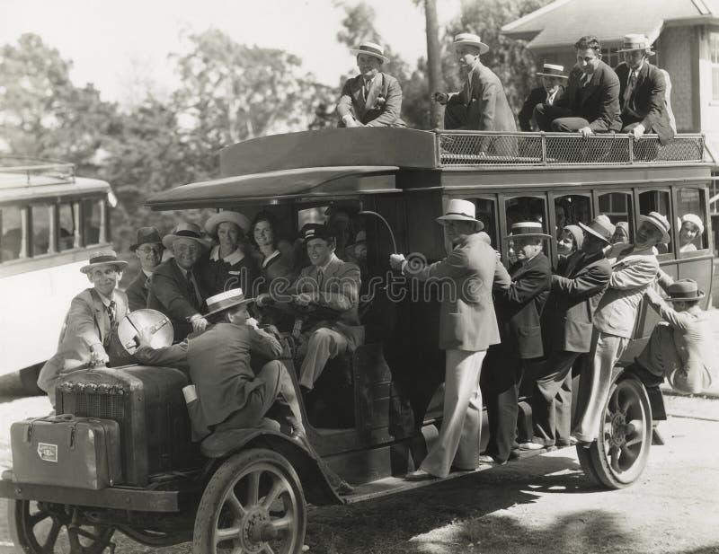 Het berijden op doubledecker bus royalty-vrije stock fotografie