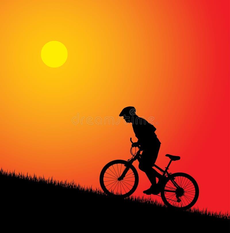 Het berijden van de fietser tot heuvel vector illustratie