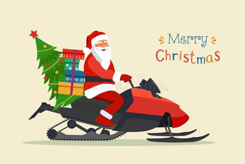 Het berijden van de Kerstman geïsoleerde Sneeuwscooter Vrolijke Kerstmis gestileerde typografie royalty-vrije illustratie