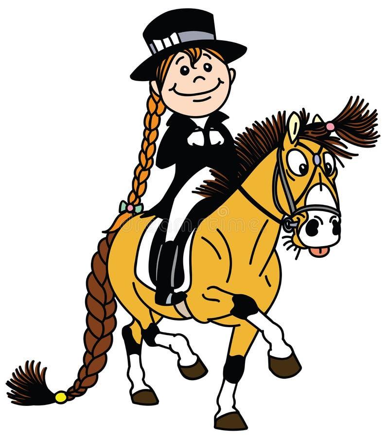 Het berijden van het meisje poney Ruiterdressuursport vector illustratie