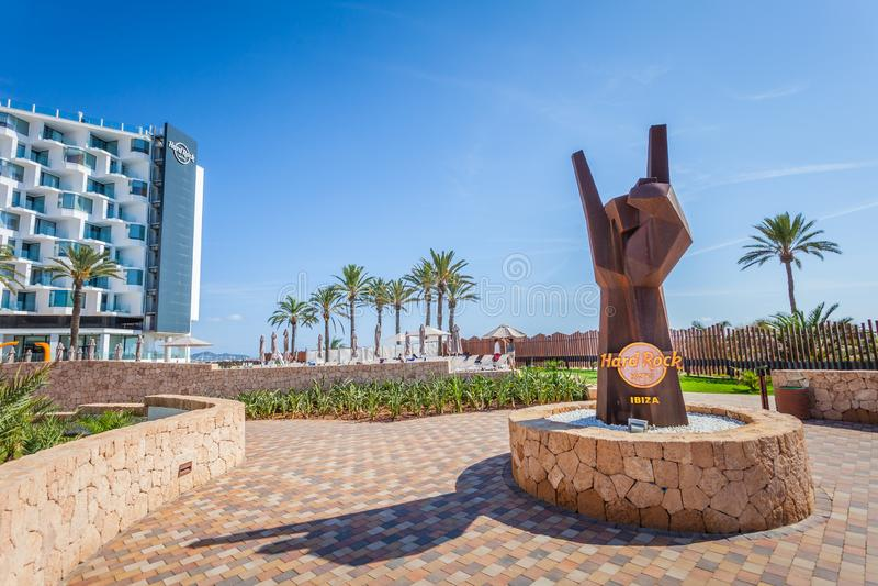 Het beroemde hotel van Harde Rotsibiza, beste plaats voor luxevakantie op Ibiza-Eiland stock afbeeldingen