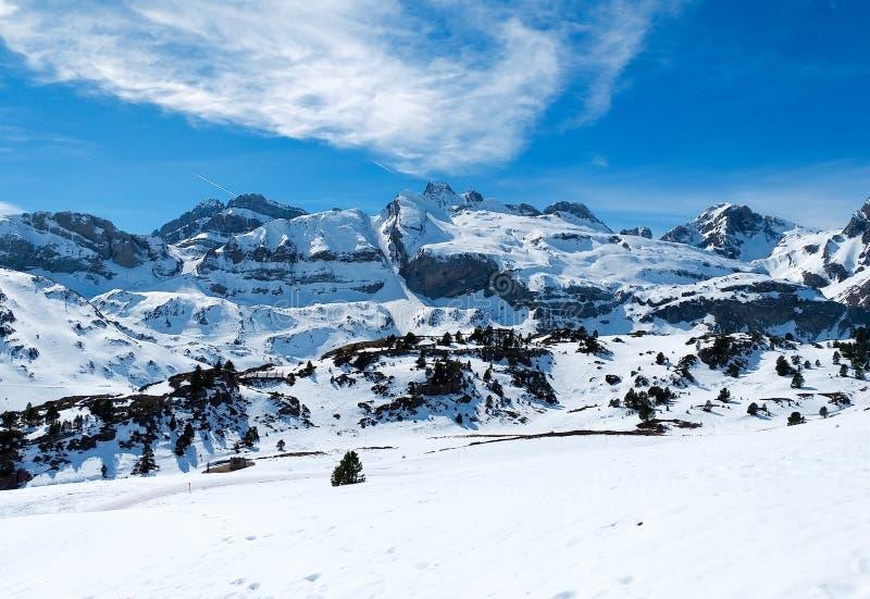 het beroemde landschap van de Spaanse bergen van de Pyreneeën riep candanchuhoogtepunt van witte sneeuw in een de winterdag met e stock afbeeldingen