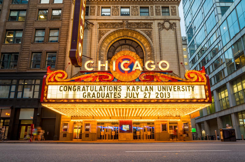 Het beroemde Theater van Chicago stock afbeeldingen