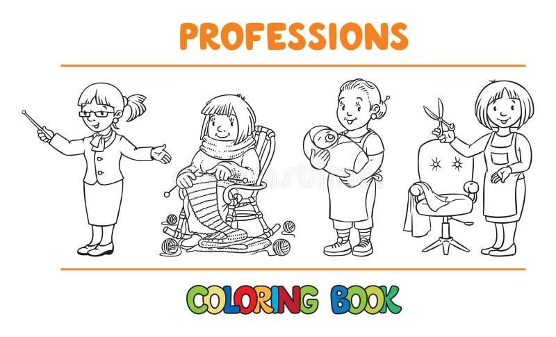 Het beroep van de vrouw het kleuren boekreeks vector illustratie