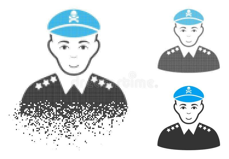 Het beschadigde Algemene Pictogram van het Pixel Halftone Kwade Leger met Gezicht royalty-vrije illustratie