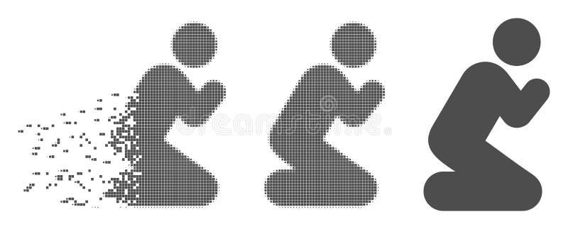 Het beschadigde Halftone Pixel bidt stelt Pictogram royalty-vrije illustratie