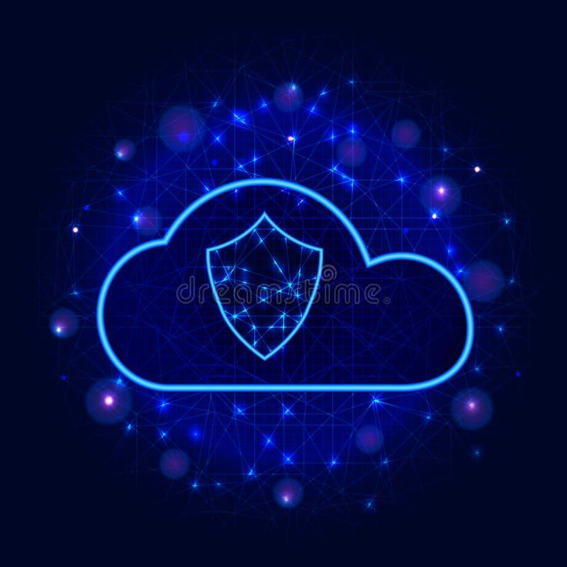 Het beschermde ontwerp van de de opslagtechnologie van wolkengegevens Van de Bedrijfs cyberveiligheid concept met schild op abstr stock illustratie