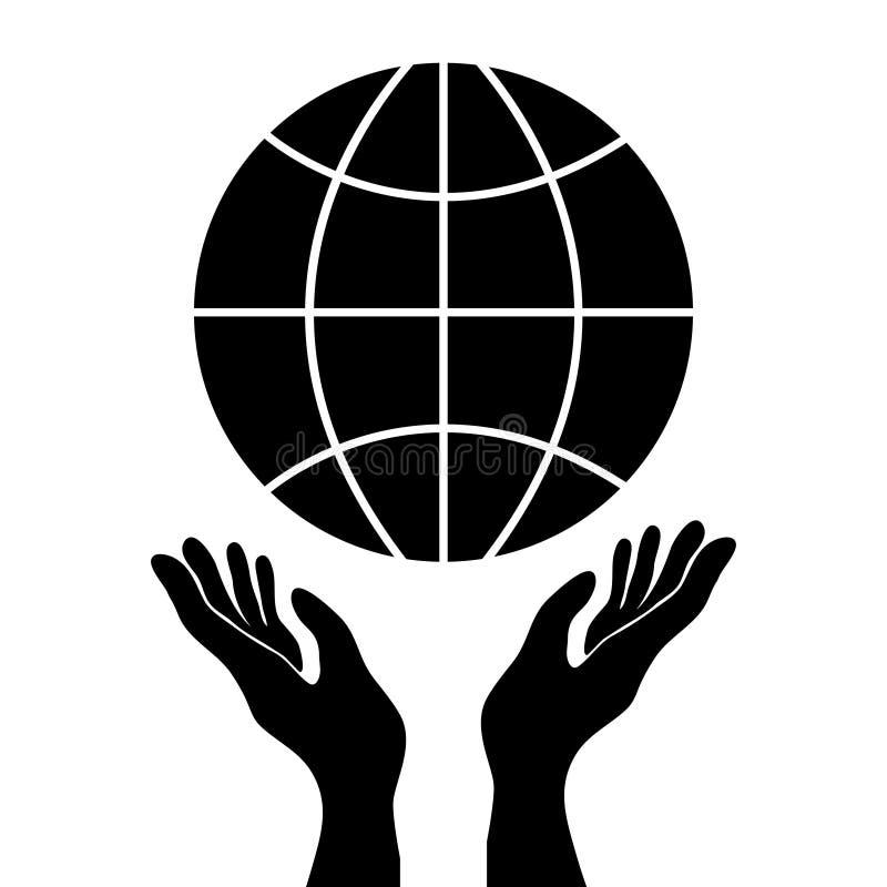 Het beschermen of controlehanden die bol, eenvoudige zwarte vector i houden royalty-vrije illustratie