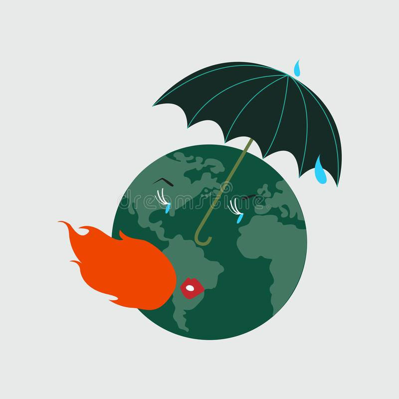 Het beschermen van de aarde tegen globale verwarmende illustratie royalty-vrije illustratie