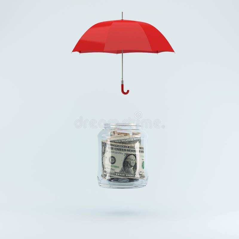 Het beschermen van geldconcept door rode paraplu op pastelkleur blauwe backgrou stock afbeelding