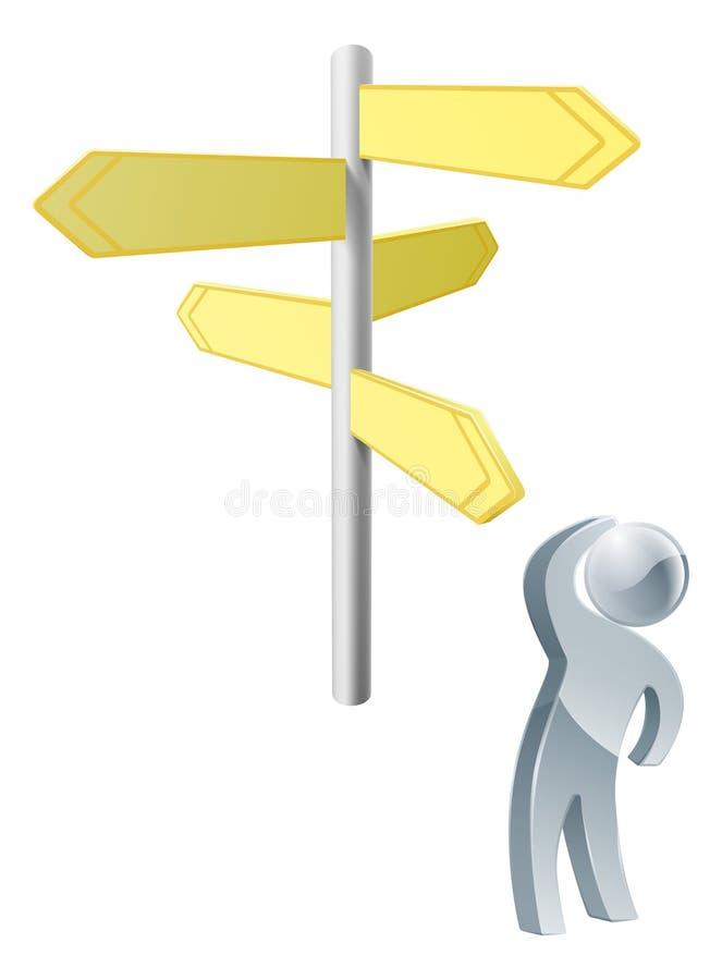 Het beslissen over route vector illustratie