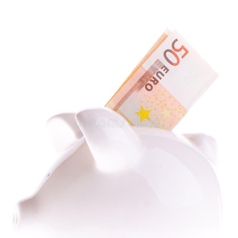 Het besparen van vijftig euro royalty-vrije stock afbeeldingen