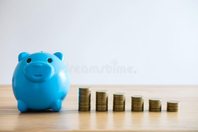 Het besparingsgeld voor toekomst, Muntstukstapels voor voert groeiende zaken aan winst en het sparen met spaarvarken op stock afbeelding