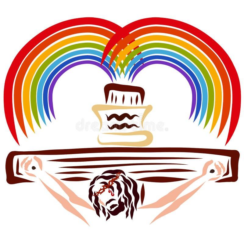 Het besparingshart, kruisigde Christus en de regenboog van belofte vector illustratie