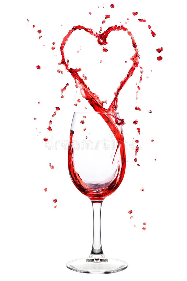 Het bespatten van de wijn van wijnglas in hartvorm royalty-vrije stock foto's
