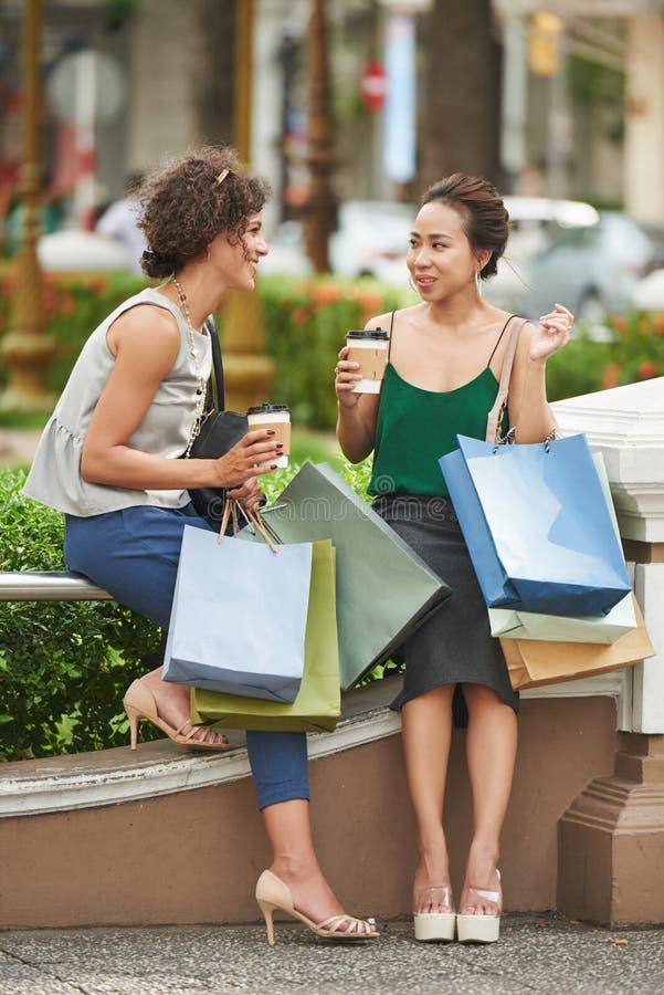 Het bespreken van het winkelen royalty-vrije stock foto