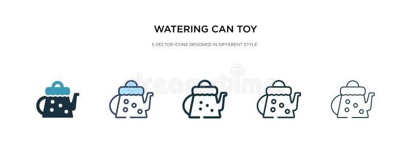 Het besproeien kan speelgoed pictogram in verschillende illustratie van de stijlvector speelgoed twee gekleurde en zwarte besproe vector illustratie