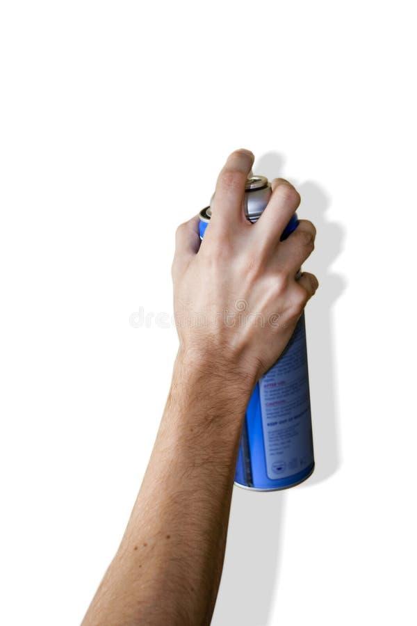 Het Bespuiten van de hand met a kan stock afbeeldingen