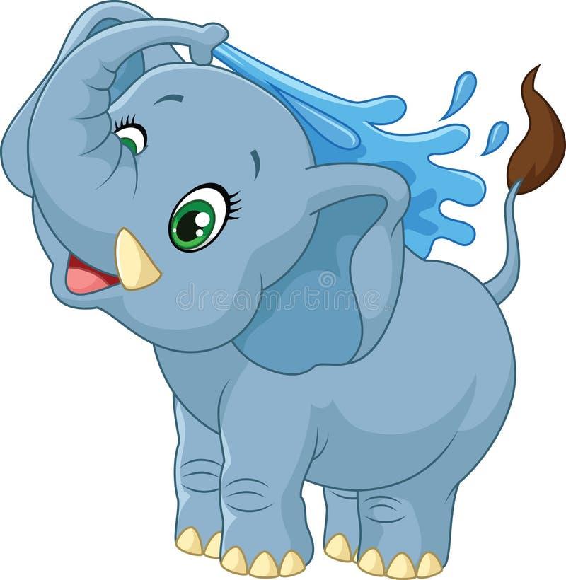 Het bespuitende water van de beeldverhaalolifant vector illustratie