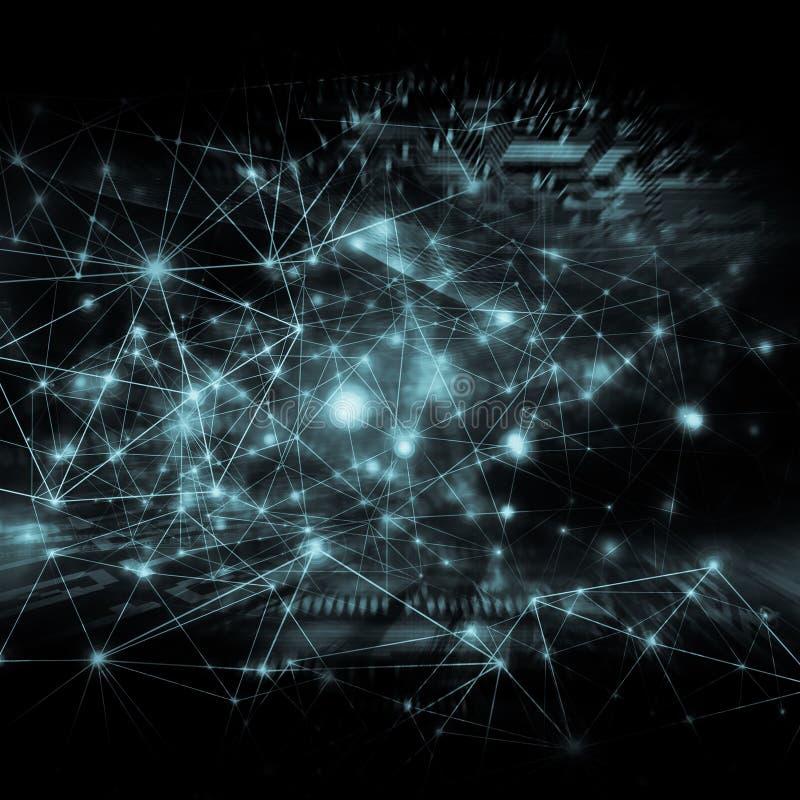 Het beste Concept van Internet globale zaken Technologische achtergrond, symbolen WiFi, van Internet, mobiele televisie, stock illustratie