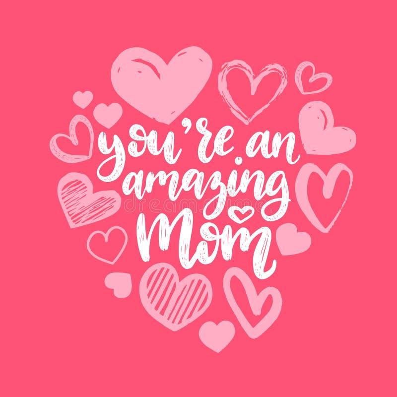 Het beste Mamma ooit vectorhand van letters voorzien Gelukkige de kalligrafieillustratie van de Moedersdag met getrokken harten v vector illustratie