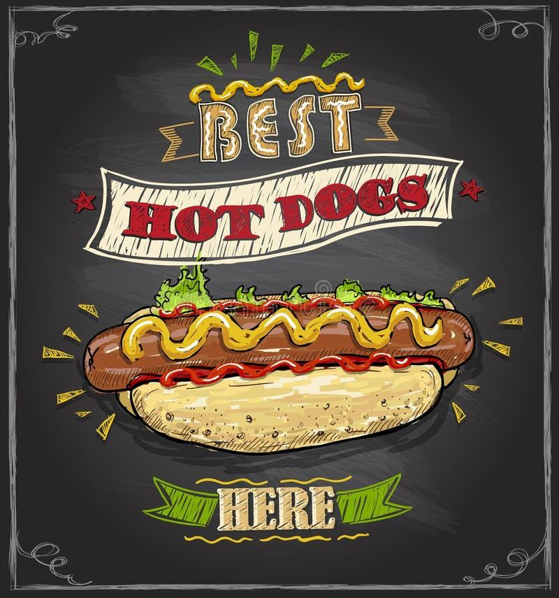 Het beste menu van het hotdogs hier bord royalty-vrije illustratie