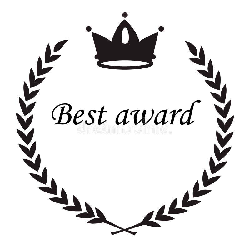 Het beste toekenningsteken, kroonnad lauwerkransbladeren, omcirkelt vlakke bla vector illustratie