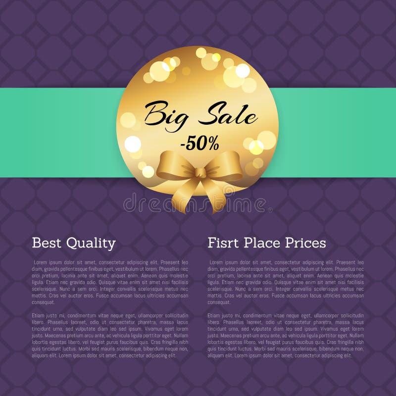 Het beste van de de Prijzenverkoop van de Kwaliteits Eerste Plaats Gouden Etiket stock illustratie
