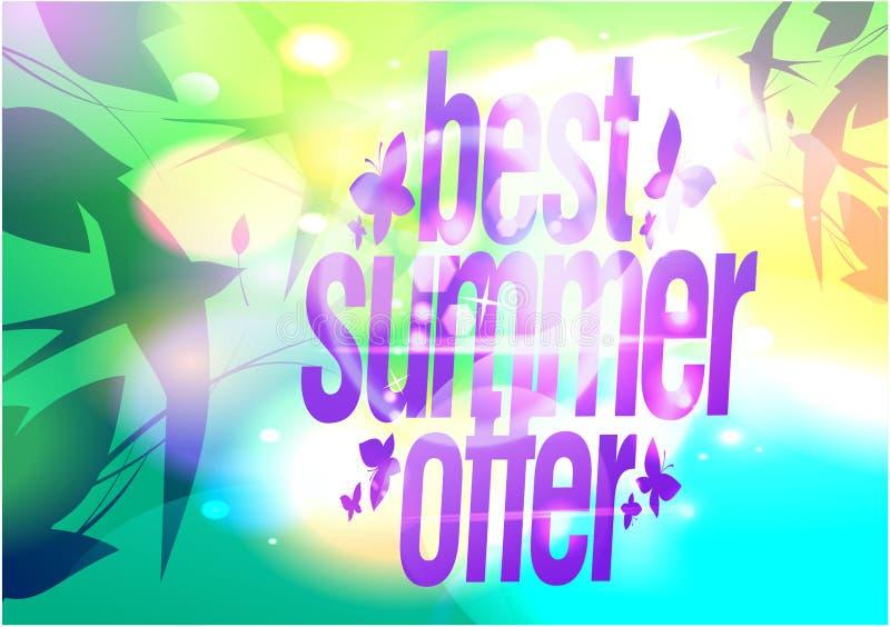 Het beste van de zomer, verkoopaffiche met het vliegen slikt vector illustratie