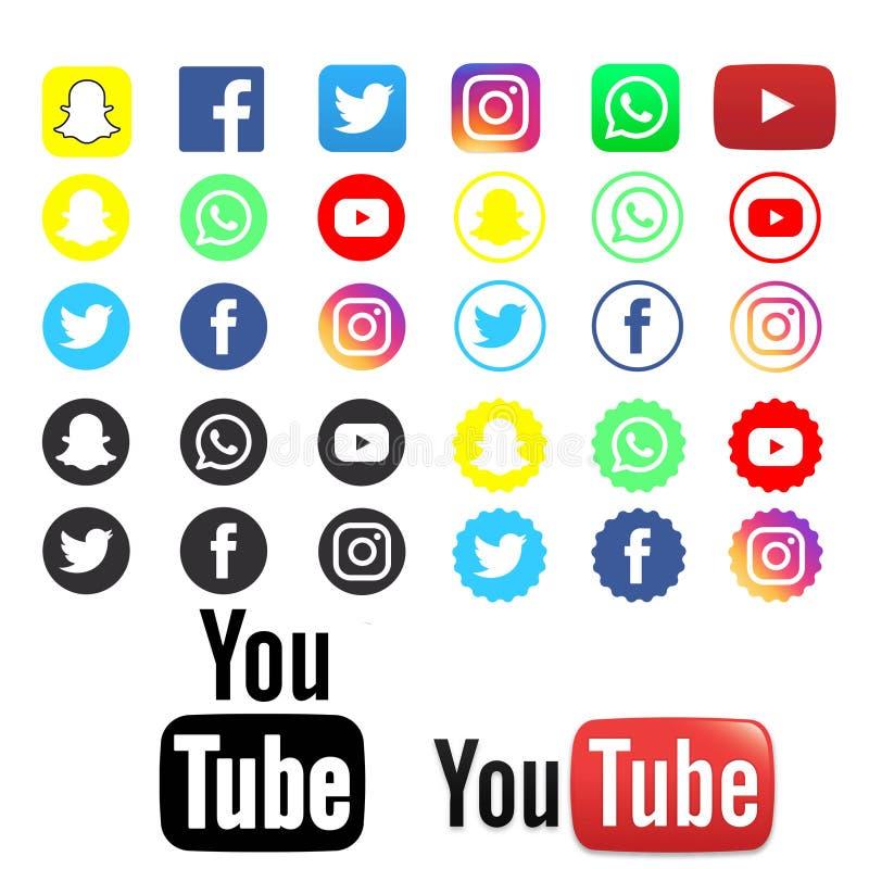 Het beste van sociale Media Emblemen op duidelijke achtergrond royalty-vrije illustratie