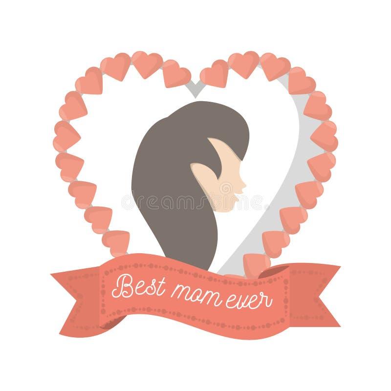 Het beste vrouwelijke cijfer van het mamma ooit hart vector illustratie