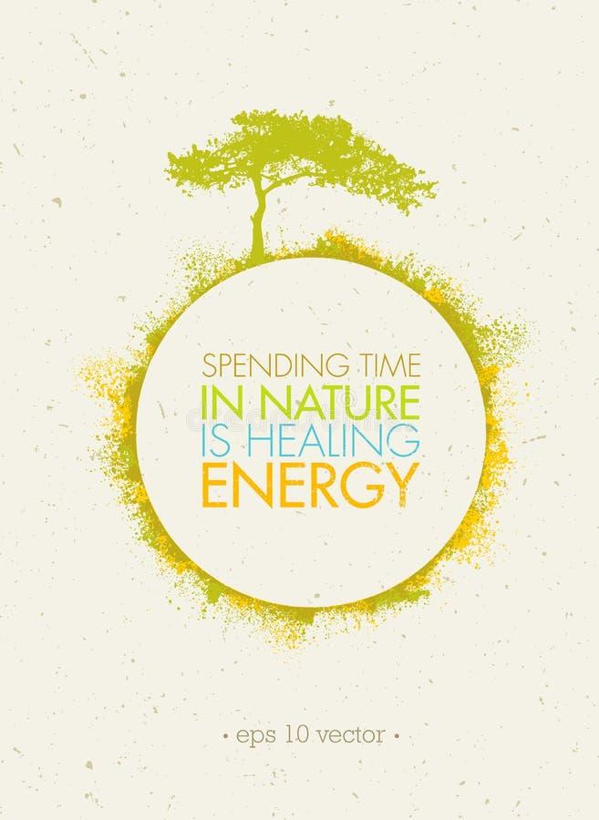 Het besteden de Tijd in Aard heelt Energie De Afficheconcept van de Ecocirkel op Document Achtergrond vector illustratie