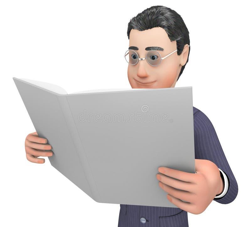 Het bestuderen van Dossier betekent Voortgangsrapport en Analyse het 3d Teruggeven vector illustratie