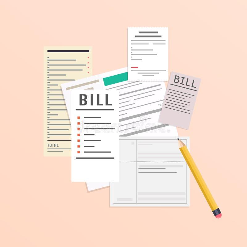 Het betalen van rekeningen Betaling van nut, bank, restaurant en andere rekeningen stock illustratie
